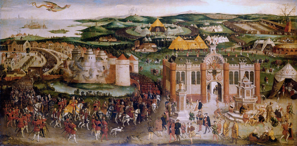 16th c. image of the Field of Cloth of Gold showing procession of royals, temporary palaces, and tiltyards