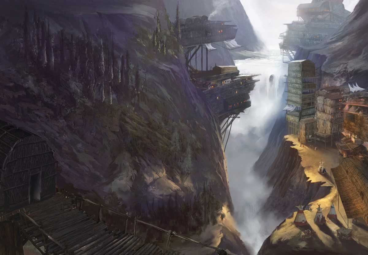 mountainous village with a waterfall in the background