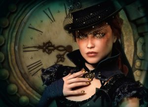 woman in steampunk clothes standing in front of a large clock face